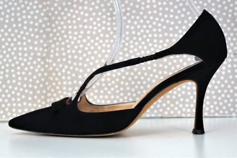 MANOLO BLAHNIK 37.5 Black Silk Satin Cutout Tuxedo Heels Pumps 7