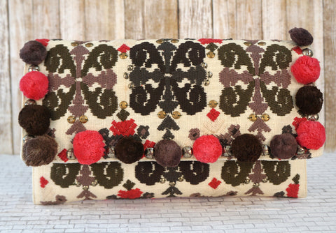 CHRISTOPHE SAUVAT Embroidered Pom Pom Flap Clutch Boho Bag