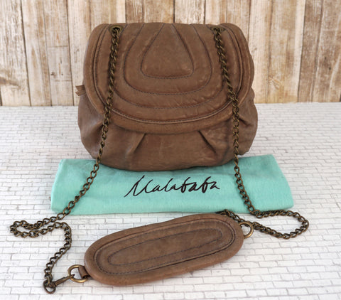 MALABABA Mushroom Gray Brown Leather Chain Strap Crossbody Shoulder Bag NEW