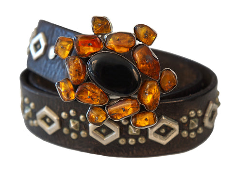 VINTAGE HAMMERED STERLING Amber Onyx Stone Buckle Studded Leather Belt 36