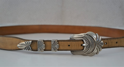 VINTAGE NATIVE AMERICAN Sterling Buckle Ranger Set Falconhead Leather Belt 38