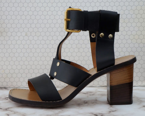 CHLOE 35 Black Leather Gladiator Heels Sandals 5