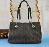 TOD'S Embossed Leather Shoulder Bag w/ Tags