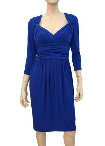 MAGGY LONDON 3/4 Sleeve Blue Stretch Jersey Dress 6