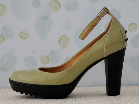 TOD's 35 Green Patent Leather Ankle Strap Platform Pumps Heels 5 5.5