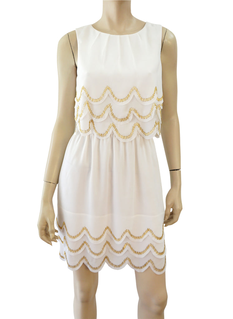 TED BAKER Scalloped White Crepe Beaded Mini Dress Baker 2 US 6