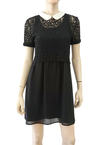 THE KOOPLES Black Lace Overlay Contrast Collar Silk Crepe Mini Dress 4