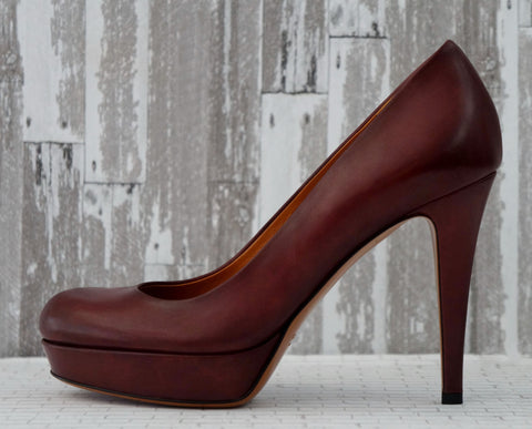 GUCCI 35 Burgundy Red Leather Betty Platform Pumps Heels 5