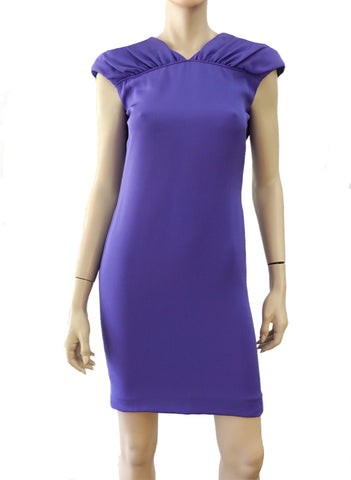 VALENTINO Vintage Lavender Purple Silk Plunge Back Button Mini Dress XS