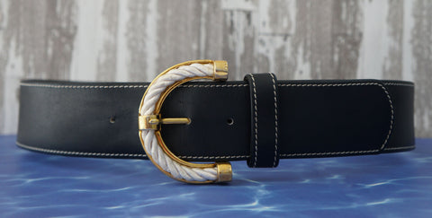 GENNY Stitched Navy Leather Gold Rope Buckle Waist Belt 42 US 6