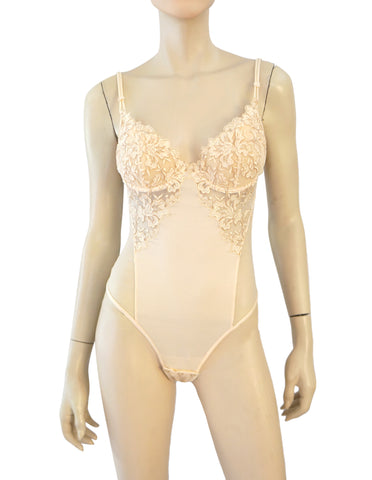 SOGNI SEGRETI 34B Peach Embroidered Tulle and Jersey Bodysuit NEW