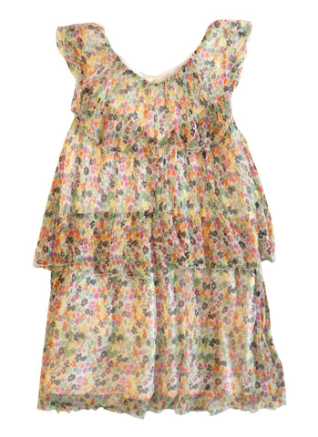 FLEUR DES CHAMPS Girls 10 Sleeveless Floral Chiffon Tiered Dress