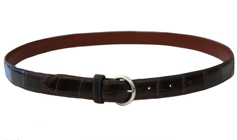 RALPH LAUREN COLLECTION Brown Crocodile Leather Belt Sterling Silver Buckle 36