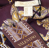 VALENTINO Multicolor Tribal Print Silk Twilly Skinny Rectangle Scarf NIB NWT