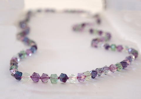 14K Gold Fluorite Faceted Bead Necklace 36 inches x A SMALL EXTRAVAGANCE