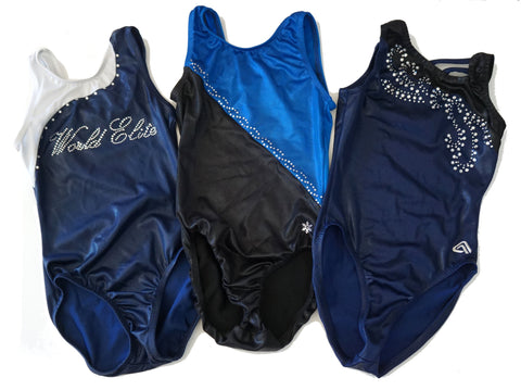 Lot of K-BEE World Elite, Aerials and Snowflake Designs Leotards Girls Large