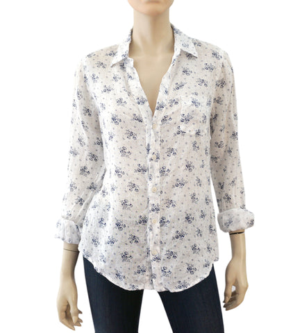 CP SHADES White Floral Print Linen Button Down Shirt Top XS M L New With Tags