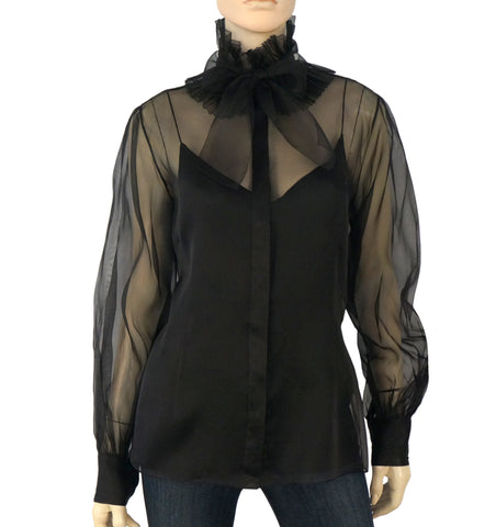 RALPH LAUREN COLLECTION Black Silk Organza Blouse 12 NEW