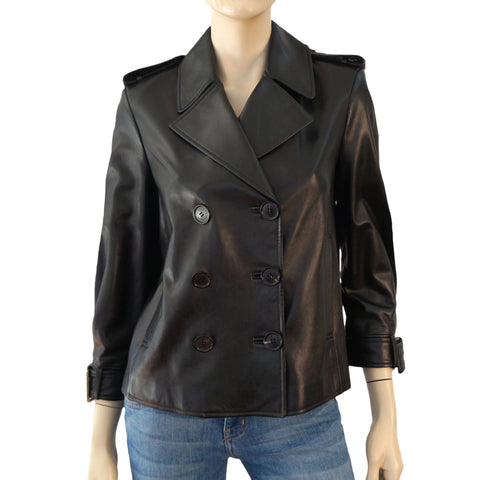 MICHAEL KORS COLLECTION Leather Jacket Black Biker Asymmetric Zip Front 4