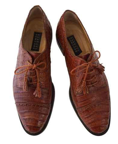 BARNEYS NEW YORK Brown Alligator Leather Oxfords Shoes 11D Extra Laces