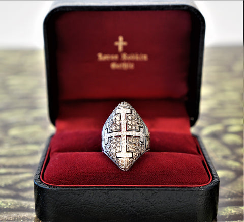 LOREE RODKIN 18K Rhodium White Gold 1.2 ct Diamond Cross Ring Size 7.5 AUTHENTIC