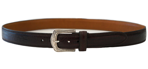 TRAFALGAR Brown Embossed Leather Western Silver Buckle Belt 38