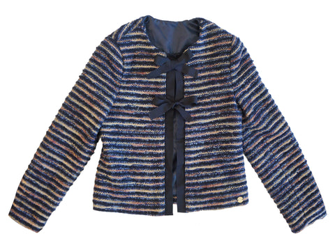 MISS GRANT Girls Navy Metallic Gold Striped Boucle Jacket 9/10 BRAND NEW