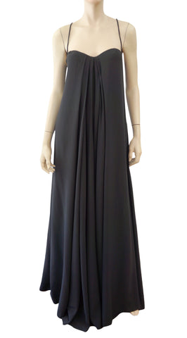 CALVIN KLEIN COLLECTION Pleated Black Silk Maxi Dress 4
