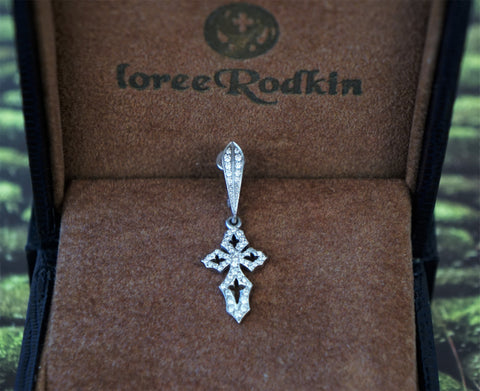 LOREE RODKIN 18K White Gold Diamond Cross Drop Earring Single
