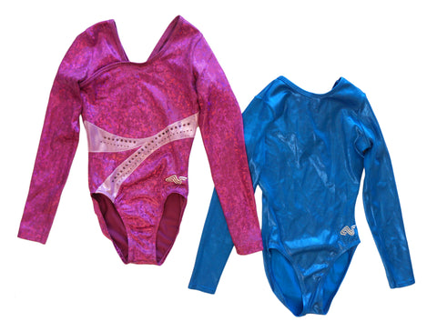 ALPHA FACTOR Girls Pink and Blue Long Sleeve Gymnastic Leotards CLA Set of 2