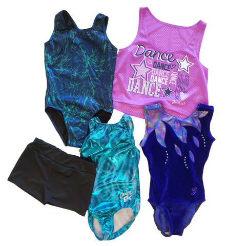 GIRLS GK Elite Carly, Glitz Velvet, Shimmer Black Leotards, Danskin Shorts Top M