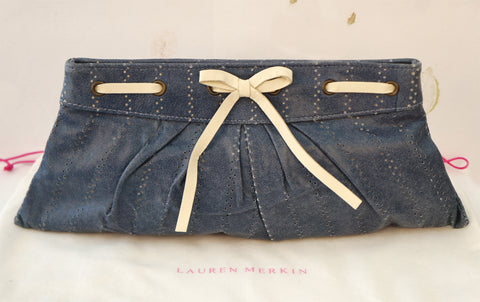 LAUREN MERKIN Washed Denim Blue Perforated Leather Bow Clutch Bag NEW WITH TAGS