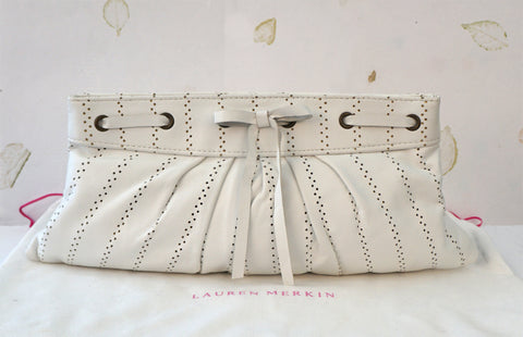 LAUREN MERKIN Pleated White Perforated Leather Bow Clutch Bag NEW WITH TAGS