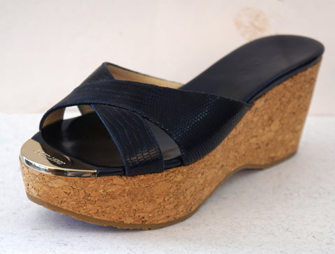 JIMMY CHOO 38.5 Prima Navy Blue Snake Embossed Leather Cork Wedges 8 NEW