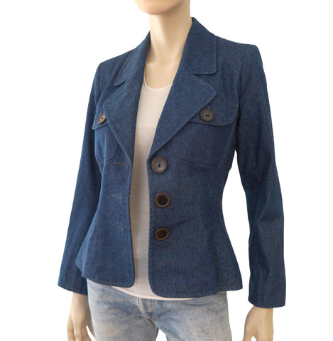 YVES SAINT LAURENT Denim Button-Front Blazer, FR 36 / US 4