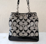 COACH Poppy Lurex Signature Pushlock NS Tote Black Patent Silver Canvas