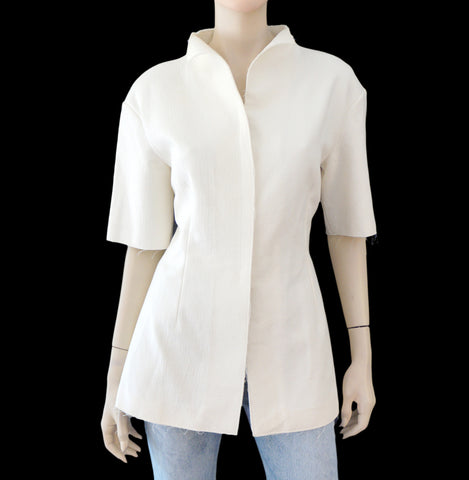 MARNI IT40 Ivory Structured Cotton Zipper Jacket 4 NEW