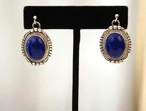 VINTAGE Navajo Patrick Yazzie Sterling Silver and Lapis Dangle Earrings 11 grams