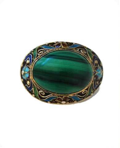 Vintage Chinese Sterling Filigree and Enamel Malachite Brooch Pin 17 grams
