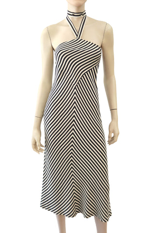 NORMA KAMALI Striped Silk Halter Dress, Sz 4