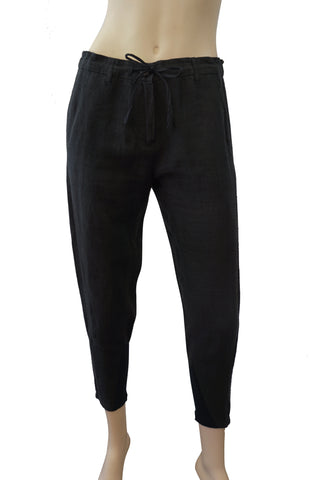 ANN DEMEULEMEESTER Drawstring Black Hemp Cropped Pants 36 US 4