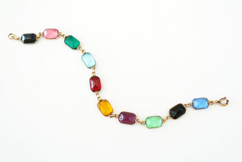 FORTUNOFF 14K Multi-Color Gemstone Bracelet 8 inches Estate