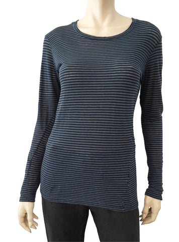 ISABEL MARANT ÉTOILE Long Sleeve Striped Cotton Linen Jersey T-Shirt Top S