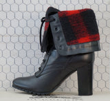 BURBERRY 36 Elford Black Leather Fold Over Plaid Cuff Booties Ankle Boots 5