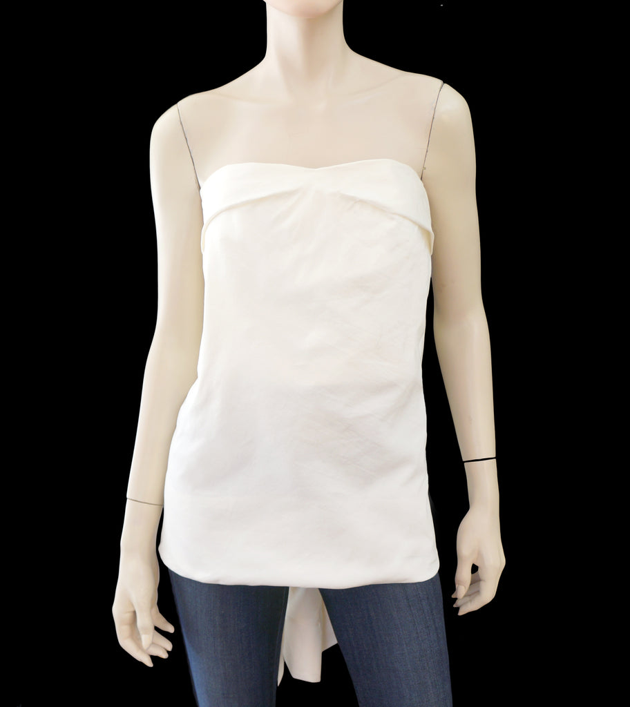 RICK OWENS Ivory Cotton Silk Strapless Draped Top 42 US 6 NEW