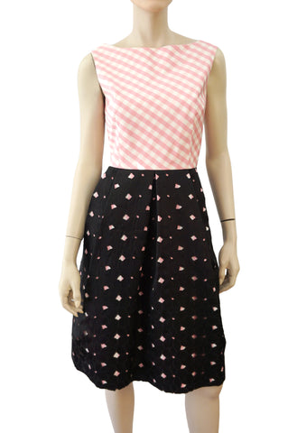LEE ANDERSON COUTURE Pink Gingham Silk Twill Floral Eyelet Fit Flare Dress 8 10