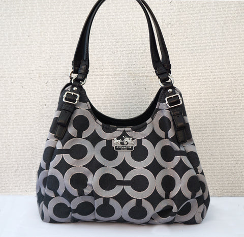 COACH Maggie Madison Lurex Op Art Black Silver Canvas Hobo Shoulder Bag