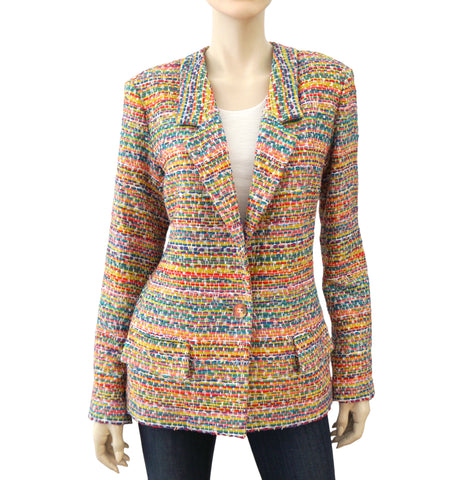 CHANEL Paris Seoul Multi-Color Tweed Jacket Blazer 44 US 10