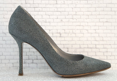 SERGIO ROSSI Leather Shagreen Heels w/ Box, 38.5