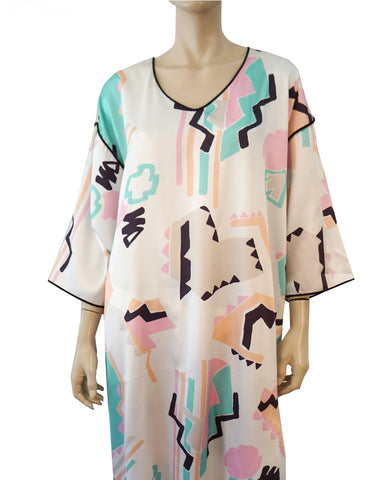 MARY McFADDEN COLLECTION Silky White Geometric Print Caftan Kaftan OS